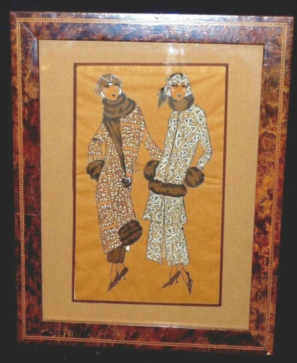 Aquarelle-ART-DECO-MODE-Femmes-Elegantes-en-Fourrures-Genre-Icart-Kirchner-273954520380
