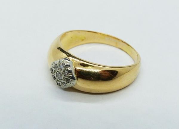 JONC-OR-Jaune-750-18K-9-Diamants-taille-ancienne-63-gr-Bijou-Ancien-283596483641-2