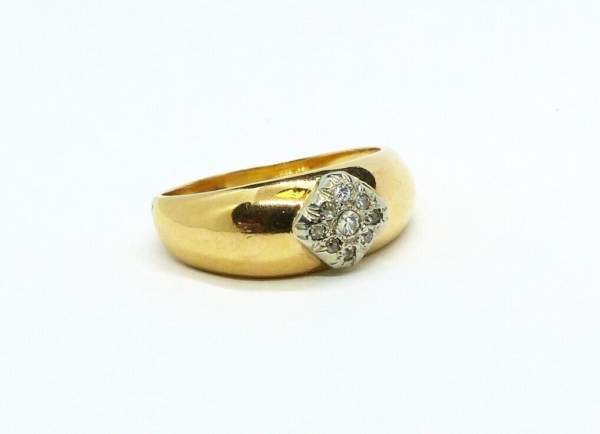 JONC-OR-Jaune-750-18K-9-Diamants-taille-ancienne-63-gr-Bijou-Ancien-283596483641-3