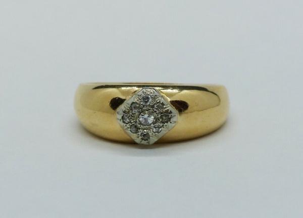 JONC-OR-Jaune-750-18K-9-Diamants-taille-ancienne-63-gr-Bijou-Ancien-283596483641-5