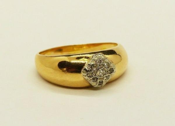 JONC-OR-Jaune-750-18K-9-Diamants-taille-ancienne-63-gr-Bijou-Ancien-283596483641