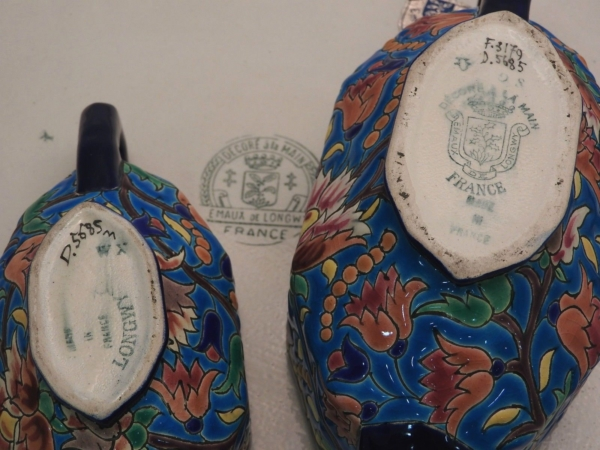 Service-Tete-tete-Caf-Th-Estampill-LONGWY-Faience-maille-TTBE-282824890031-11