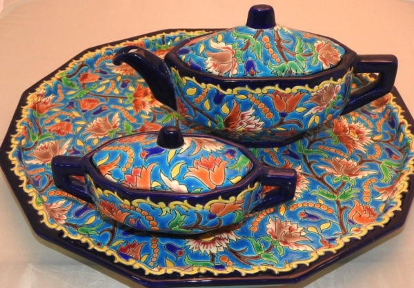 Service-Tete-tete-Caf-Th-Estampill-LONGWY-Faience-maille-TTBE-282824890031