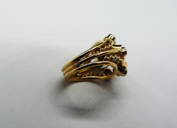 BAGUE-OR-Jaune-750-18K-7-Diamants-1-carat-11-gr-Bijou-Ancien-283567197423-12