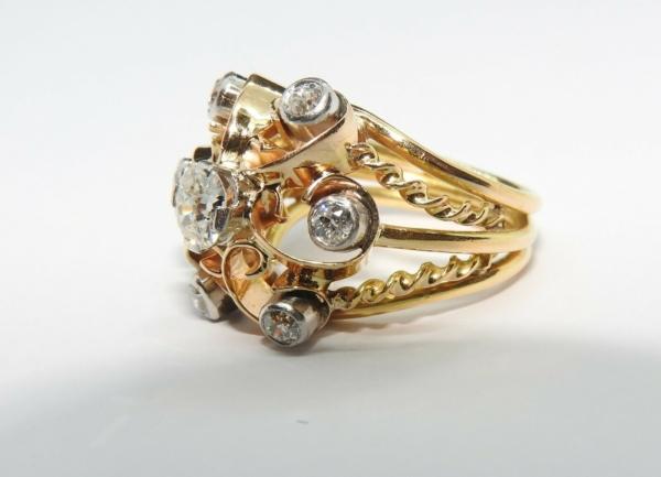 BAGUE-OR-Jaune-750-18K-7-Diamants-1-carat-11-gr-Bijou-Ancien-283567197423-2