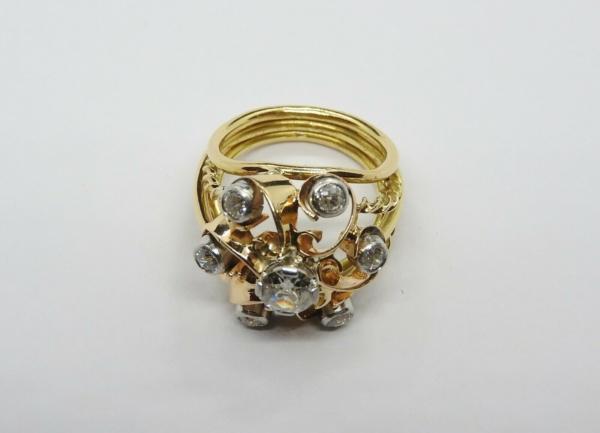 BAGUE-OR-Jaune-750-18K-7-Diamants-1-carat-11-gr-Bijou-Ancien-283567197423-3