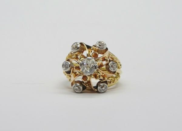 BAGUE-OR-Jaune-750-18K-7-Diamants-1-carat-11-gr-Bijou-Ancien-283567197423-4
