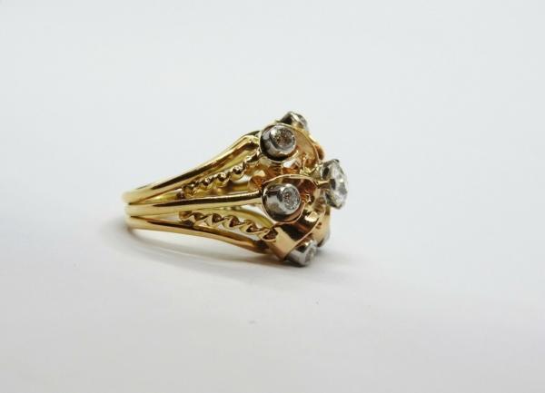 BAGUE-OR-Jaune-750-18K-7-Diamants-1-carat-11-gr-Bijou-Ancien-283567197423-5