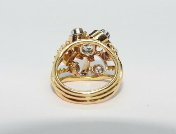 BAGUE-OR-Jaune-750-18K-7-Diamants-1-carat-11-gr-Bijou-Ancien-283567197423-6