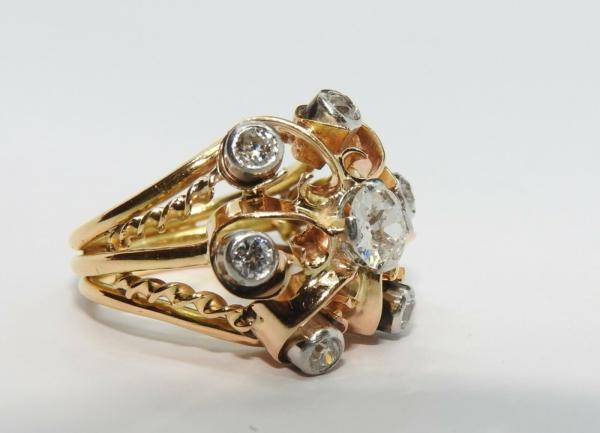 BAGUE-OR-Jaune-750-18K-7-Diamants-1-carat-11-gr-Bijou-Ancien-283567197423