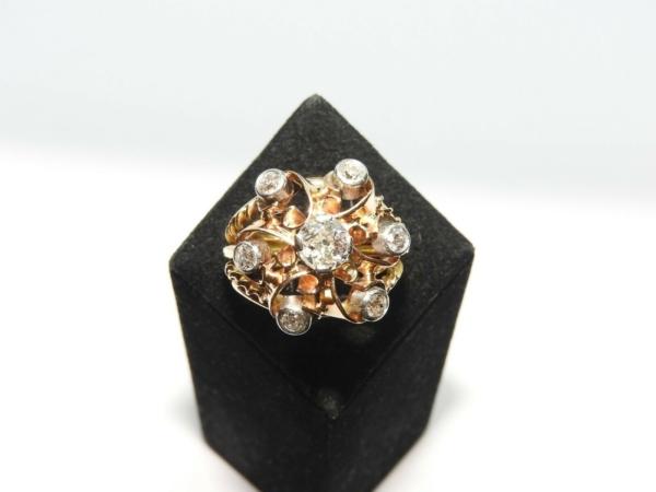 BAGUE-OR-Jaune-750-18K-7-Diamants-1-carat-11-gr-Bijou-Ancien-283567197423-7