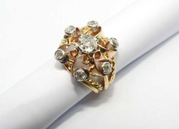BAGUE-OR-Jaune-750-18K-7-Diamants-1-carat-11-gr-Bijou-Ancien-283567197423-8