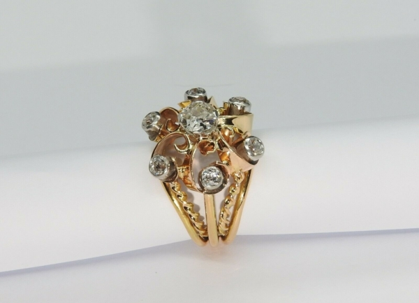 BAGUE-OR-Jaune-750-18K-7-Diamants-1-carat-11-gr-Bijou-Ancien-283567197423-9