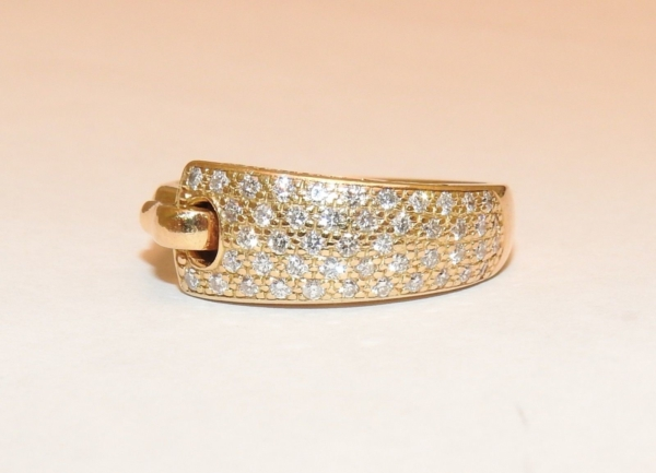 BAGUE-GUY-LAROCHE-OR-Jaune-750-40-Diamants-Poinon-au-Hibou-52gr-18car-273033608606-9