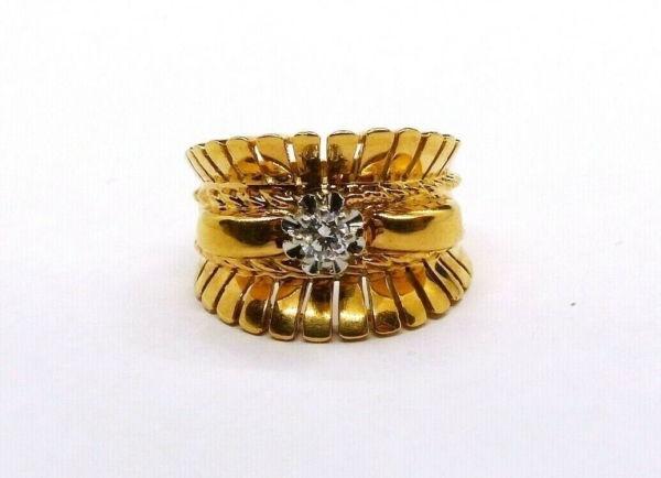 BAGUE-OR-Jaune-750-Bague-TANK-18K-Diamant-78-gr-Bijou-Ancien-273986813826-3