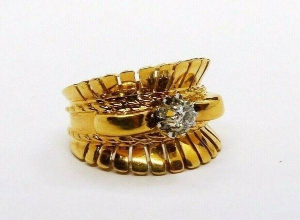 BAGUE-OR-Jaune-750-Bague-TANK-18K-Diamant-78-gr-Bijou-Ancien-273986813826