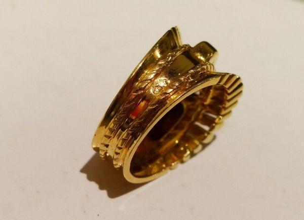BAGUE-OR-Jaune-750-Bague-TANK-18K-Diamant-78-gr-Bijou-Ancien-273986813826-9