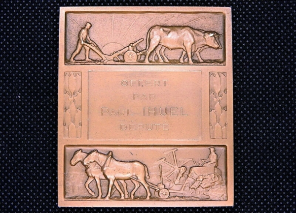 Mdaille-BRONZE-Art-Dco-MORLON-142gr-Agriculture-273953231879-3