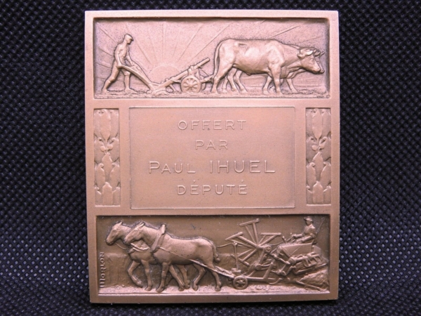 Mdaille-BRONZE-Art-Dco-MORLON-142gr-Agriculture-273953231879-4